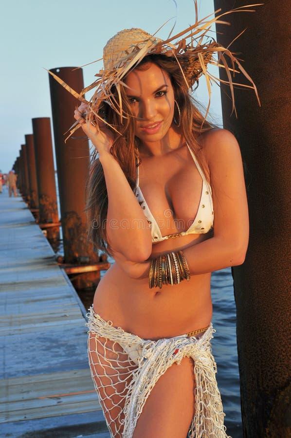 摆在小船海滨广场的拉丁泳装时装模特儿 库存照片