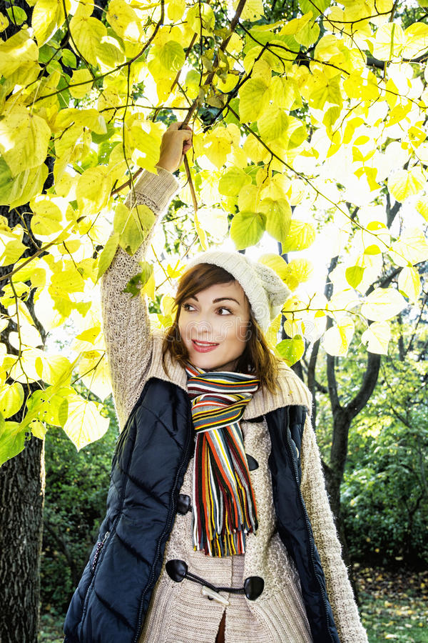 摆在山毛榉树下的美丽的微笑的浅黑肤色的男人在秋天 免版税库存图片