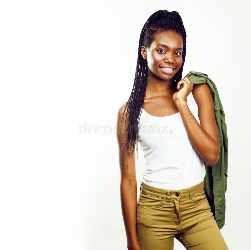 摆在快乐情感的年轻俏丽的非裔美国人的女孩  库存图片