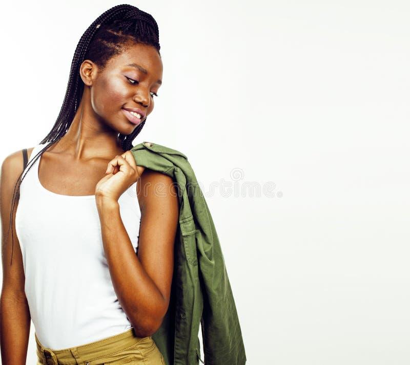 摆在快乐情感的年轻俏丽的非裔美国人的女孩  图库摄影