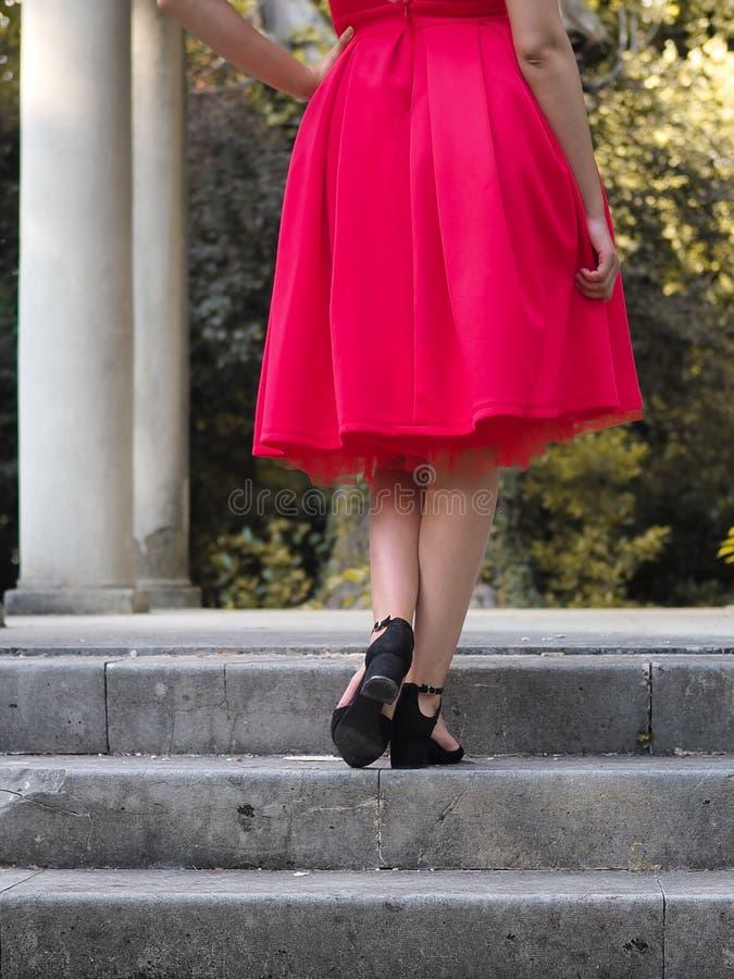 摆在性感的红色礼服的公园的深色的女孩有赤裸后面的 库存照片