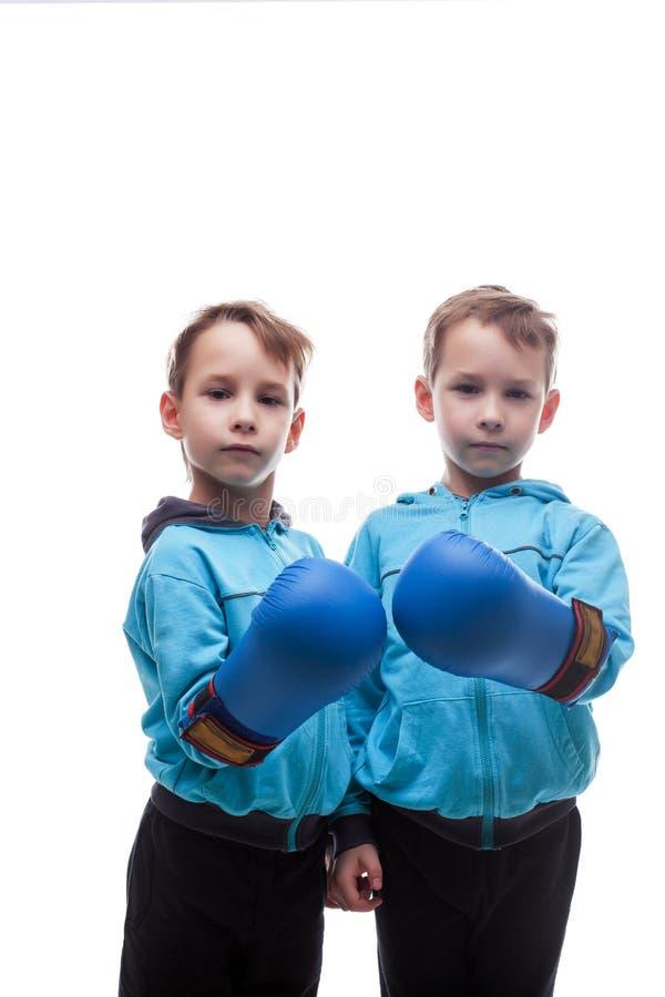 摆在拳击手套的两严肃的孪生 库存图片