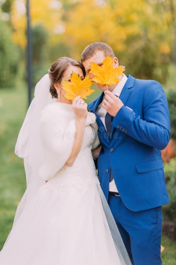 摆在新婚的夫妇户外 掩藏他们的在秋叶后的青年人面孔 免版税图库摄影