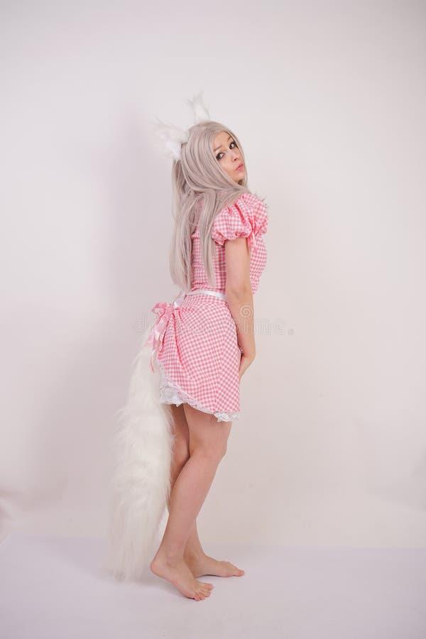 摆在有毛皮猫耳朵和一条长的蓬松尾巴的一件迷人的格子花呢披肩巴法力亚礼服的逗人喜爱的白肤金发的女孩在S的白色背景 库存图片