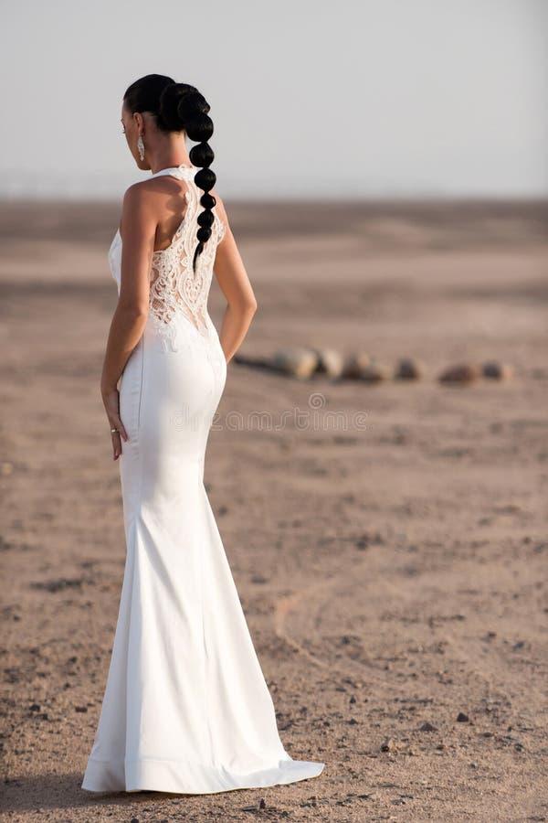 摆在沙漠,后面看法的妇女 库存照片