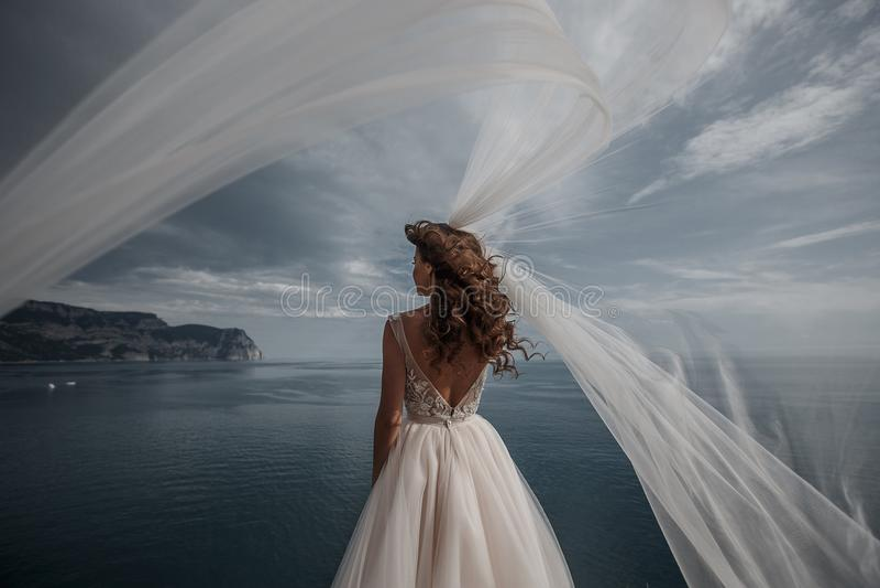 摆在海和山的白色礼服的美丽的新娘在背景中 免版税库存照片