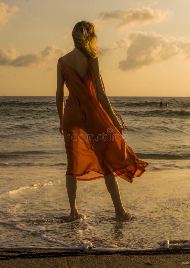 摆在海滩的后面观点的白肤金发和迷人的白肤金发的妇女穿看海的时髦和肉欲的礼服在夏天ho 库存照片