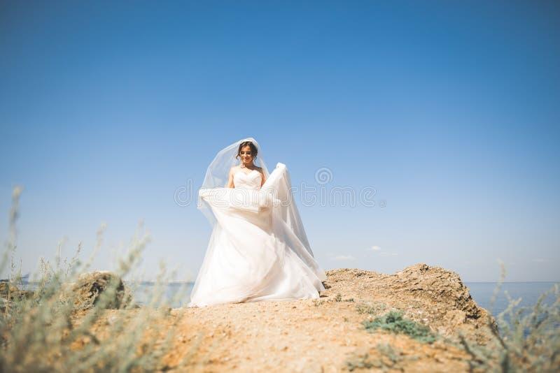 摆在海附近的白色婚礼礼服的可爱的新娘有美好的背景 免版税库存照片