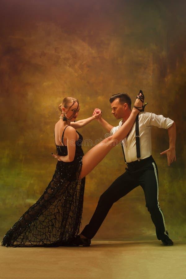摆在演播室的灵活的年轻现代舞夫妇 库存照片