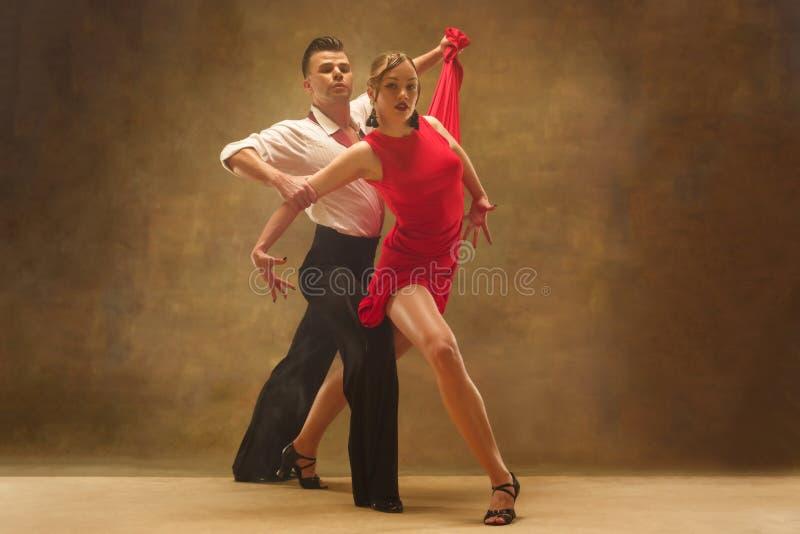 摆在演播室的灵活的年轻现代舞夫妇 免版税库存照片