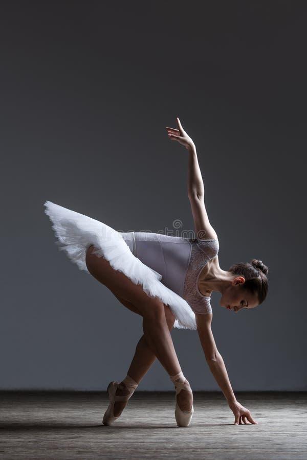 摆在演播室的年轻美丽的芭蕾舞女演员 免版税库存照片