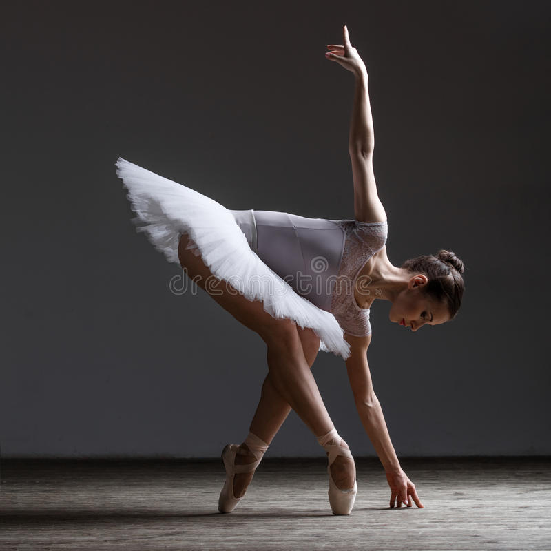 摆在演播室的年轻美丽的芭蕾舞女演员 图库摄影