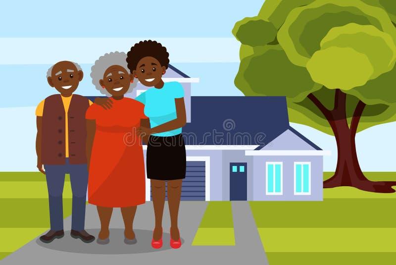摆在现代房子传染媒介例证背景的微笑的美国黑人的黑家庭  皇族释放例证
