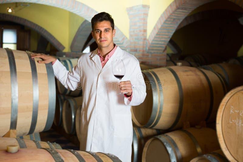 摆在用酒的酿酒厂的品尝师 免版税库存照片