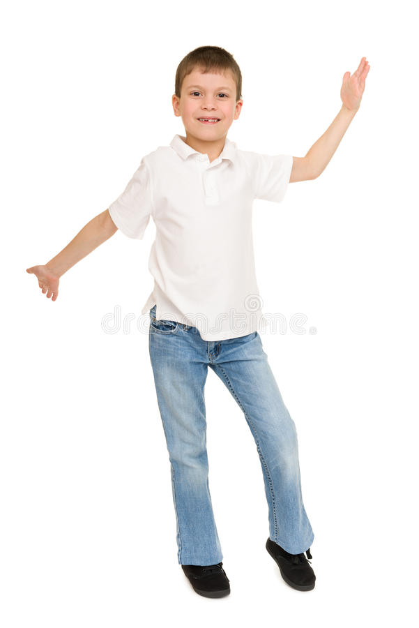 摆在白色的男孩 免版税库存图片