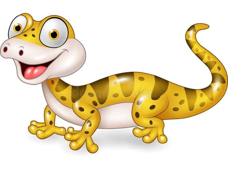 摆在白色背景的逗人喜爱的蜥蜴 库存例证