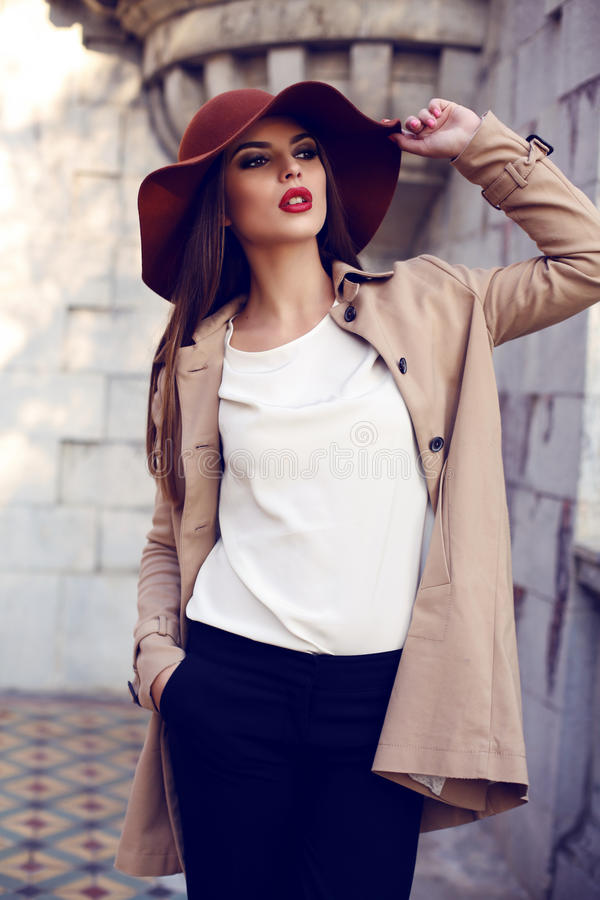 摆在秋天公园的典雅的衣裳的美丽的如贵妇妇女 库存图片