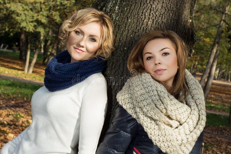 摆在秋天树前面的两名美丽的妇女 免版税库存照片
