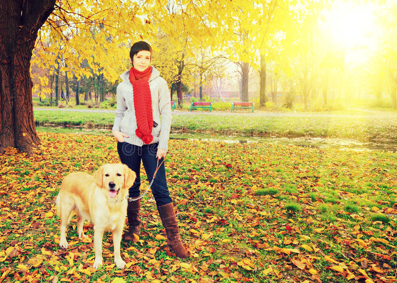 摆在秋天的年轻女性和她的狗在晴朗的d的一个公园 免版税库存照片