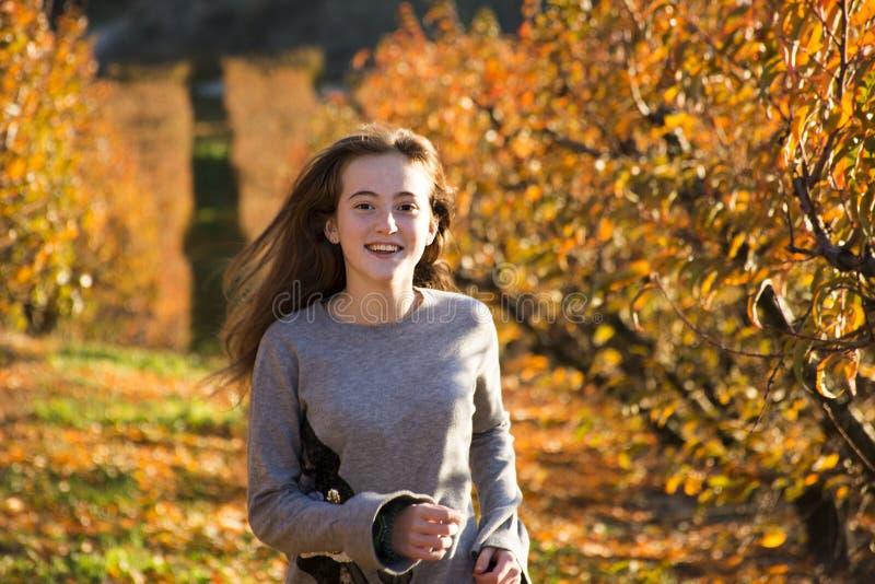 摆在秋天领域的美丽的少妇 晴朗的日 红发 少年 免版税库存照片