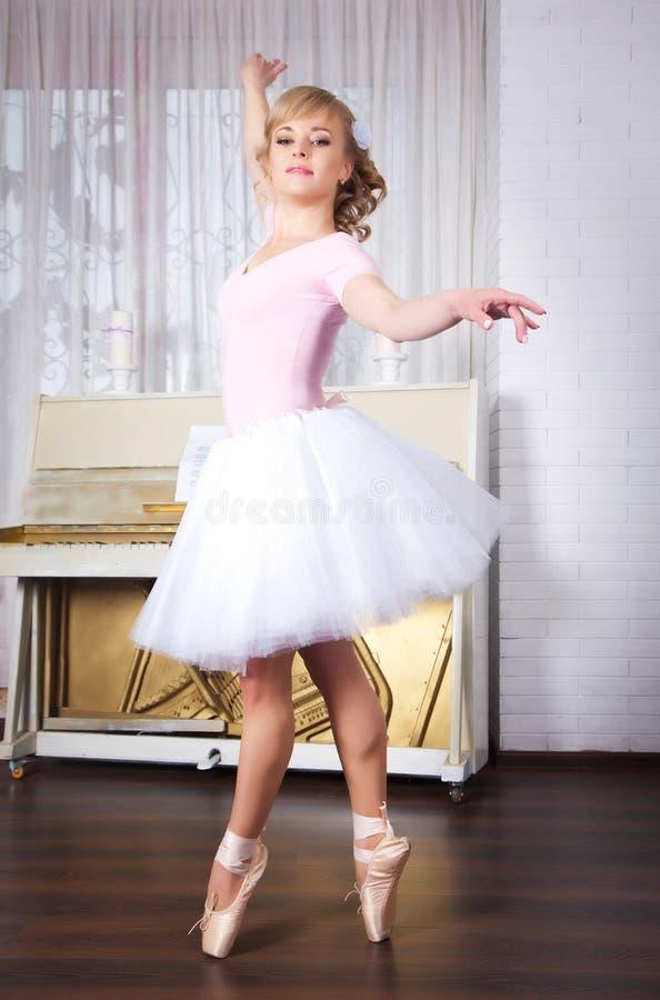 摆在舞蹈演播室的年轻美丽的舞蹈家 免版税库存照片