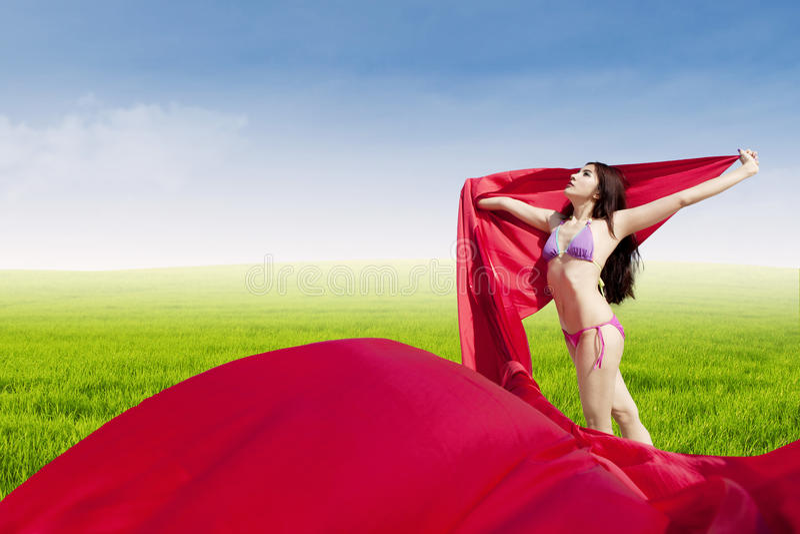 摆在草甸的美丽的妇女 免版税库存图片