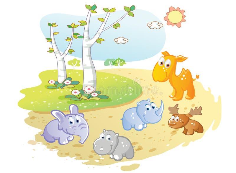 摆在街道庭院里的年轻动物动画片 库存例证
