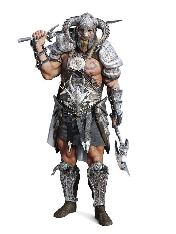 摆在被隔绝的白色背景的常设剧烈装甲的野蛮战士 皇族释放例证