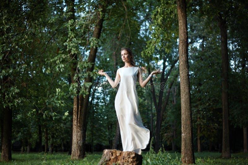 摆在象白色长的礼服的女神的美女在自然 Boho样式,灵魂安静,健康 自由和放松 免版税库存照片