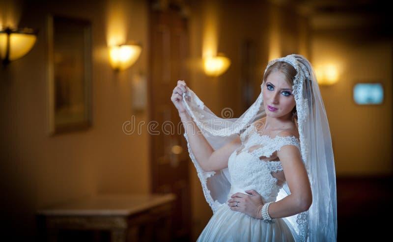 摆在豪华内部的婚礼礼服的年轻美丽的豪华妇女 有长的面纱的华美的典雅的新娘 诱人 库存图片
