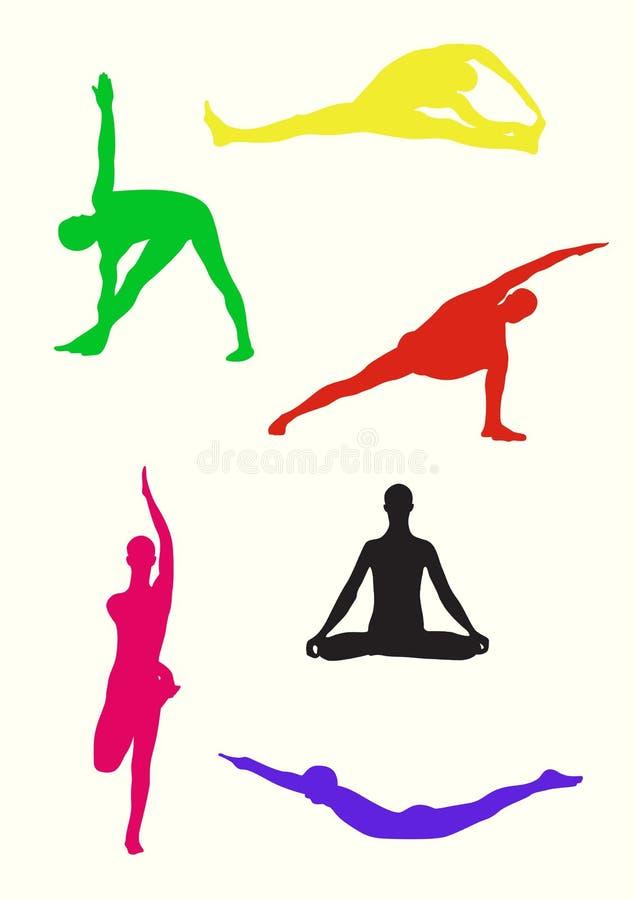 摆瑜伽姿势 库存例证