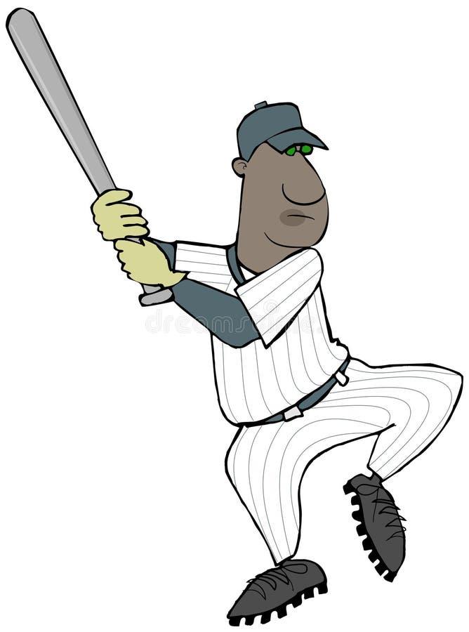 摇摆他的棒的棒球运动员 皇族释放例证