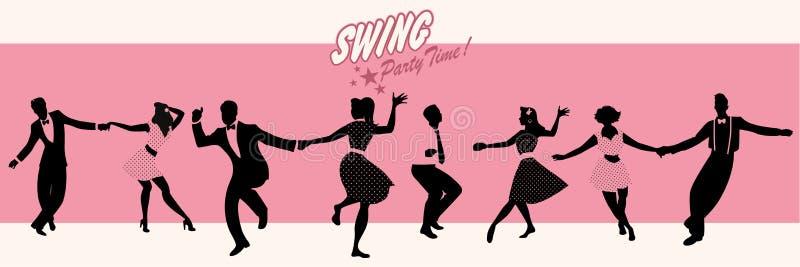 摇摆党时间:穿减速火箭的衣裳的四对年轻夫妇剪影跳舞摇摆或林迪舞单脚跳 皇族释放例证