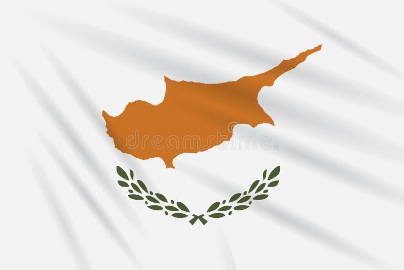 摇摆在风,现实传染媒介的塞浦路斯旗子 皇族释放例证