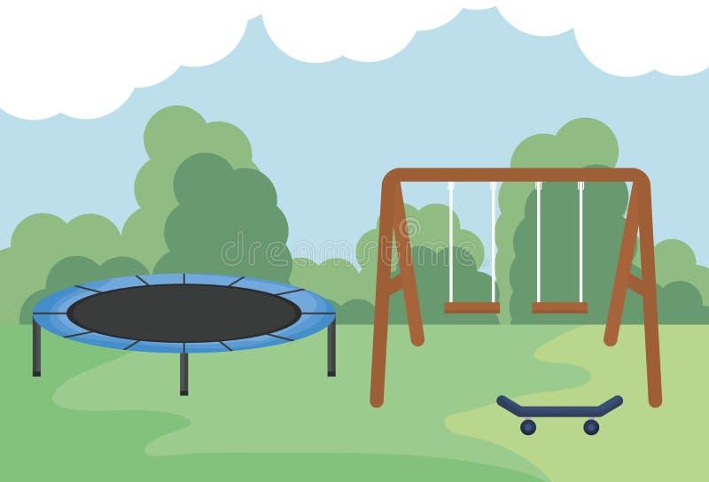 摇摆木与有弹性trampilone在公园 库存例证