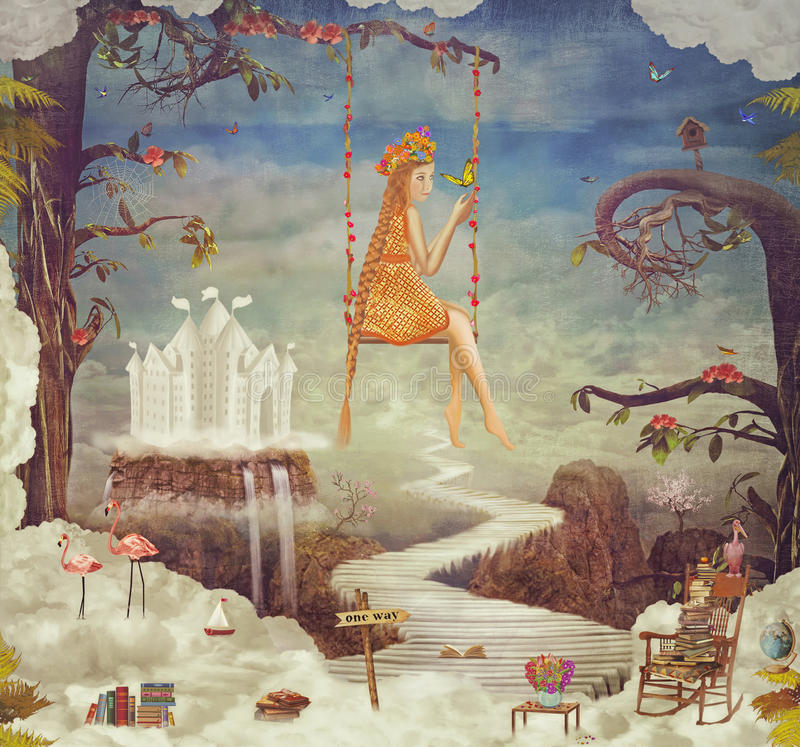 摇摆的俏丽的女孩在意想不到的天空 皇族释放例证
