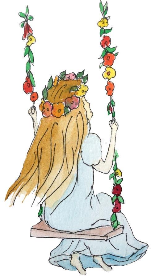 摇摆的女孩与夏天花花圈在她的头的 r 皇族释放例证