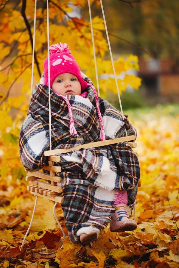 摇摆的小女孩在秋天公园 库存图片