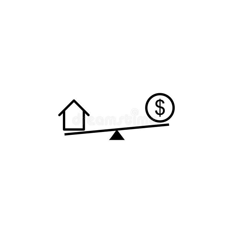 摇摆,房子,美元象 财务例证的元素 标志和标志象可以为网,商标,流动应用程序,UI,UX使用 皇族释放例证