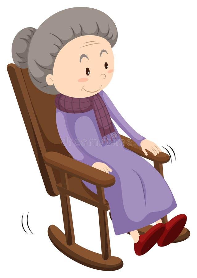 摇椅的老妇人 库存例证