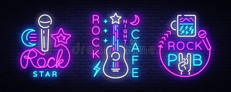 摇滚乐汇集霓虹商标传染媒介 晃动客栈,咖啡馆,摇滚明星霓虹灯广告,概念性标志,明亮的夜 向量例证