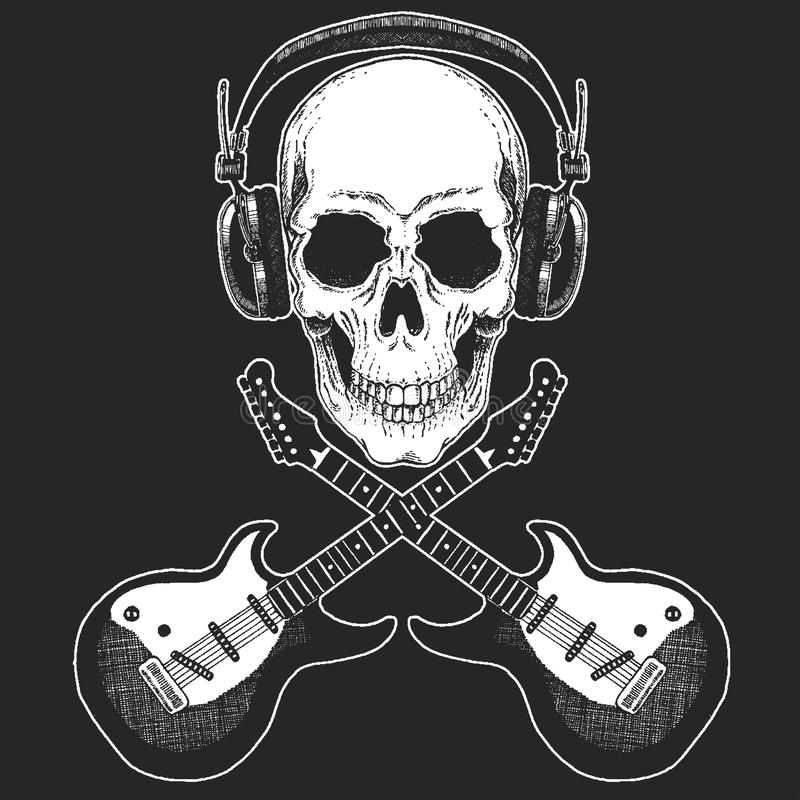 摇滚乐节日 冷却海报的,横幅, T恤杉印刷品 有电吉他的头骨佩带的耳机 重金属 皇族释放例证