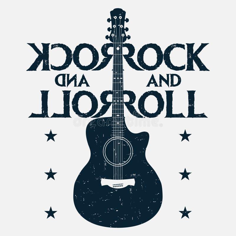 摇滚乐音乐与吉他的难看的东西印刷品 摇滚音乐设计 库存例证