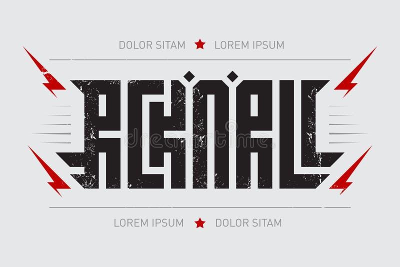 摇滚乐-与风格化题字,红色ligh的音乐海报 皇族释放例证
