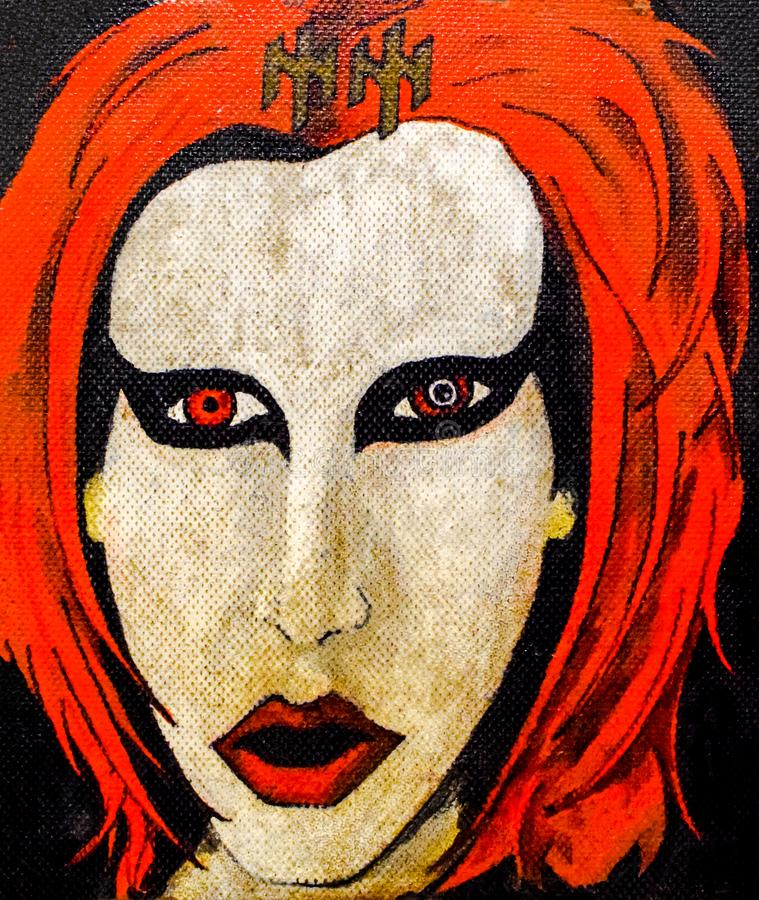 摇滚明星的手拉的画象 红色头发和白色庞克音乐的表演者面孔 库存例证