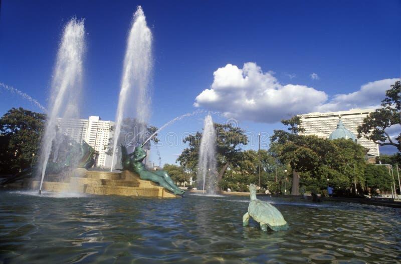 摇石广场喷泉在费城, PA 免版税库存照片