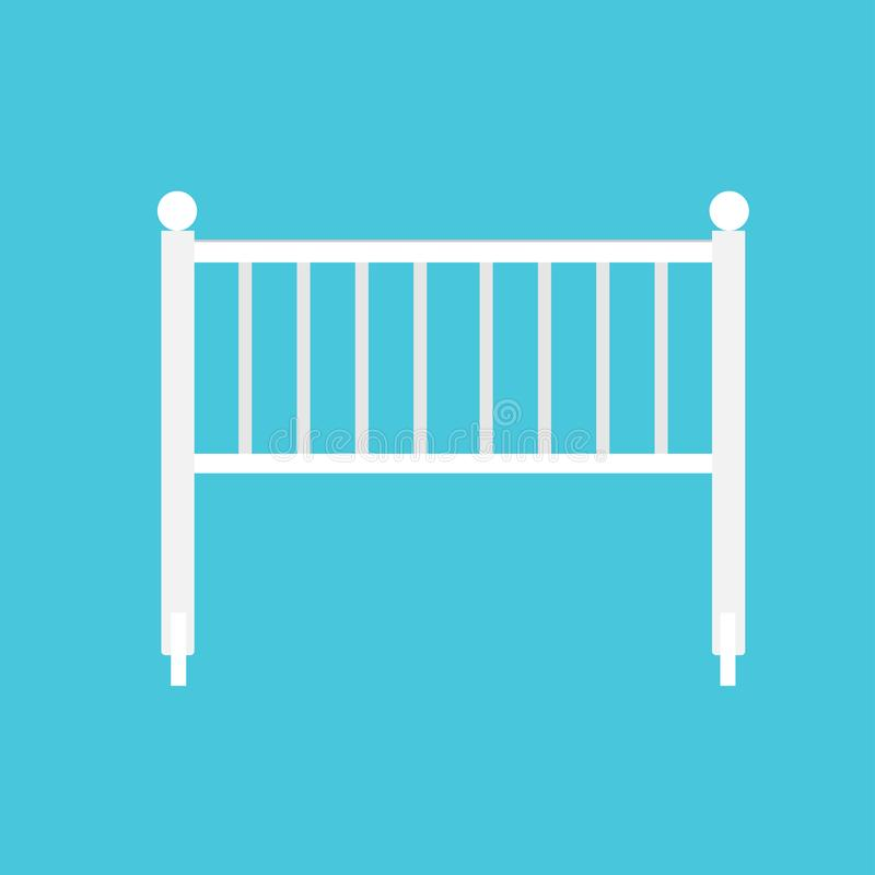摇篮婴孩白色平的标志艺术 一点剪影设备床孩子传染媒介象 床儿童轻便小床例证 库存例证