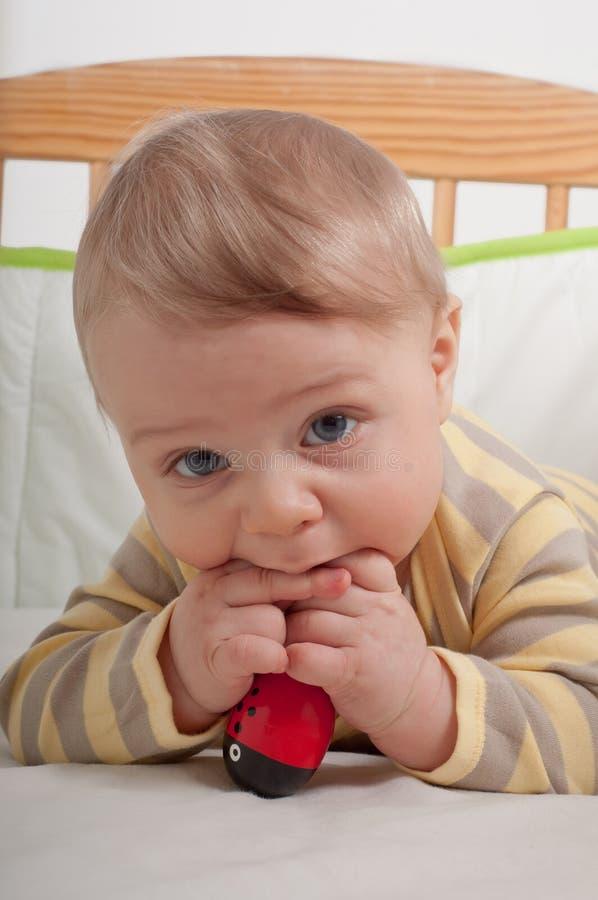 摇篮的男婴 免版税库存图片