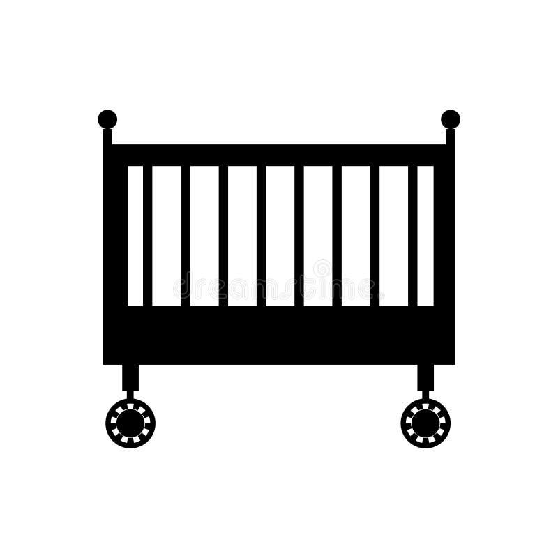 摇篮象在白色背景和标志隔绝的传染媒介标志,摇篮商标概念 皇族释放例证