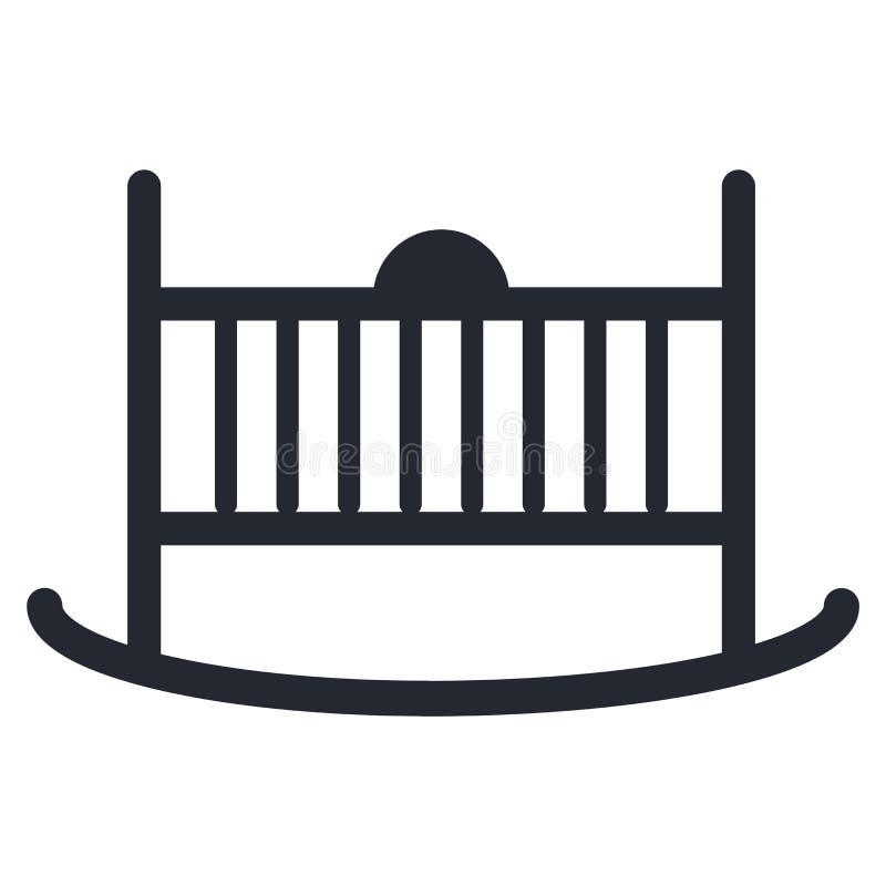 摇篮象在白色背景和标志隔绝的传染媒介标志 皇族释放例证